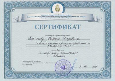 Cертификат ЛОРП Ефимов Ю.И. 2019